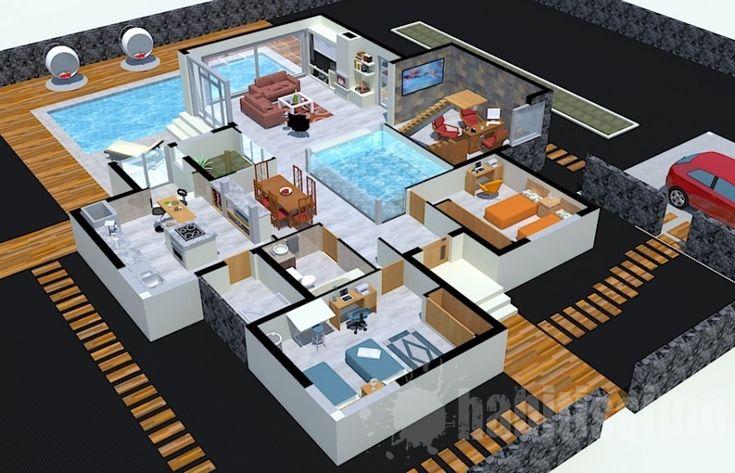 S con mini alberca interior planos pinterest for Mini albercas