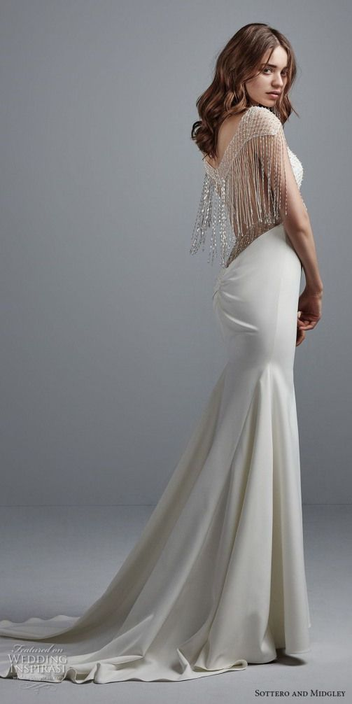sottero midgley fall 2017 half fringe sleeves illusion jewel sweetheart neckline…