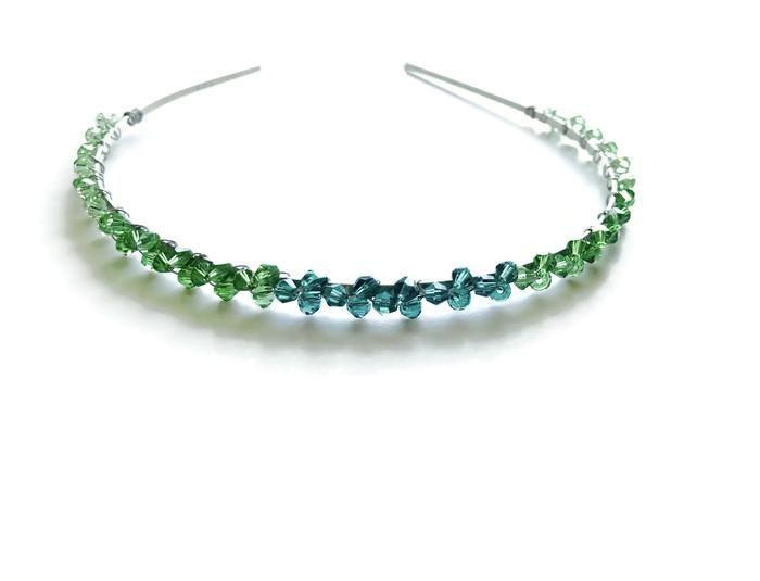 Green crystal handmade headband for woman