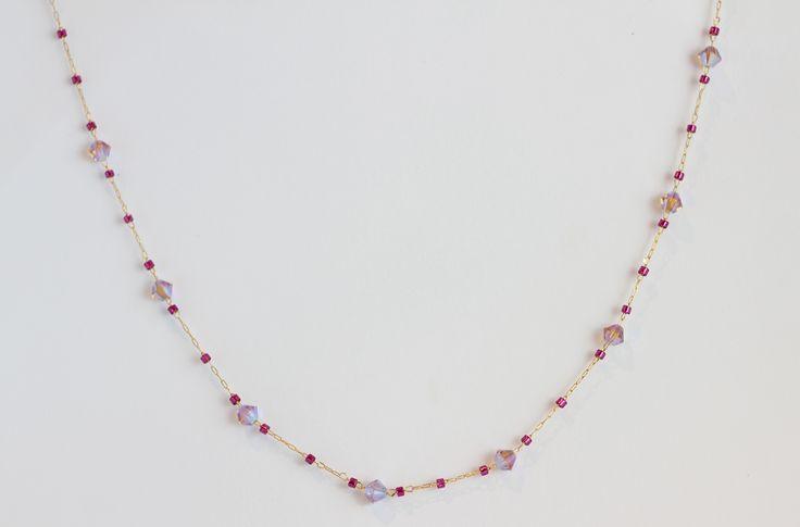 ":: CHERYL DELICA NECKLACE :: 16'' chain with 4mm bicone Swarovski crystals and delicas--shown in ""Pink Combo"" ($46)"