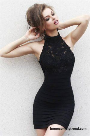 Black Beaded Short High Neck Tight Homecoming Dresses Homecoming Prom dresses by http://lovedress.storenvy.com/collections/432226-homecoming-dresses/products/13989513-homecoming-dress-pink-homecoming-dress-tulle-homecoming-dress-casual-home