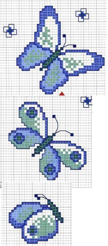 Borboleta azul, ponto cruz