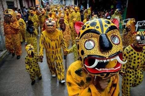 """Una fiesta en México en honor al jaguar: La Tigrada -  """"La tigrada"""" es una fiesta llena de color y tradición, que se celebra en el pueblo de Chilapa, en Guerrero, todos los 15 de agosto. Los festejos incluyen danzas, mezcal, música y ¡tigres! Pero no te asustes, se trata de un ritual en el que cientos de personas se disfrazan de tigres para llevar a cabo un agradecimiento especial a Tláloc, el dios nahua de la lluvia y a la tierra, y a la virgen de la Asunción, por los favores recibidos…"""