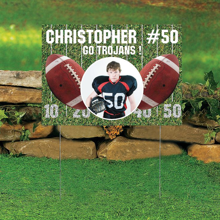 Football Custom Photo Yard Sign - OrientalTrading.com - $16