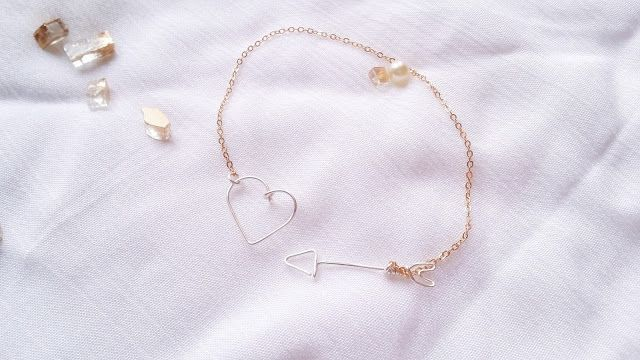 DIY Wire Heart and Arrow Pendant Chain Bracelet