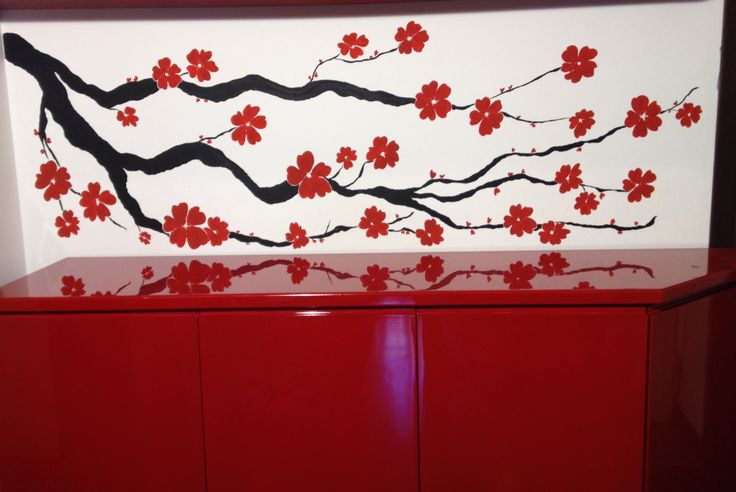 Selfmade painted wall decoration.
