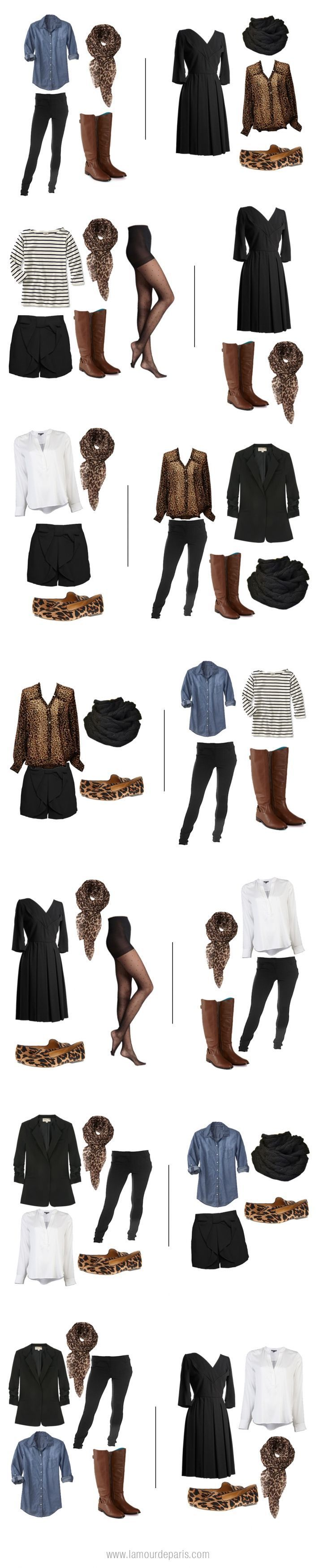 Two weeks worth of outfits from one carry on ... Just switch the animal print with something else and it's perfect!