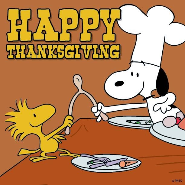 Woodstock and Snoopy with Thanksgiving wishbone