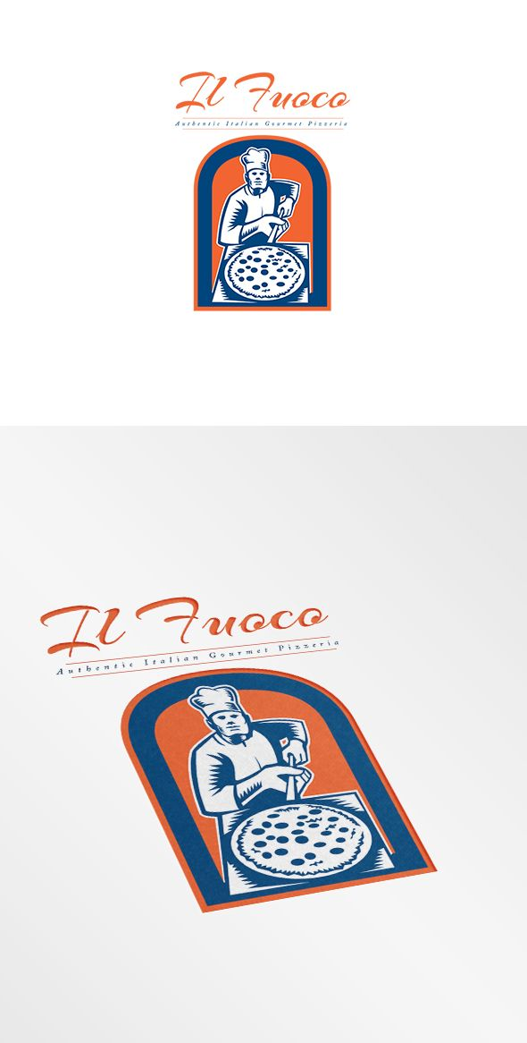 Il Fuoco Gourmet Pizza Logo. Logo showing illustration of a baker pizza maker holding a pizza peel viewed from front set inside circle done in woodcut retro style. 100% re-sizeable vectors.