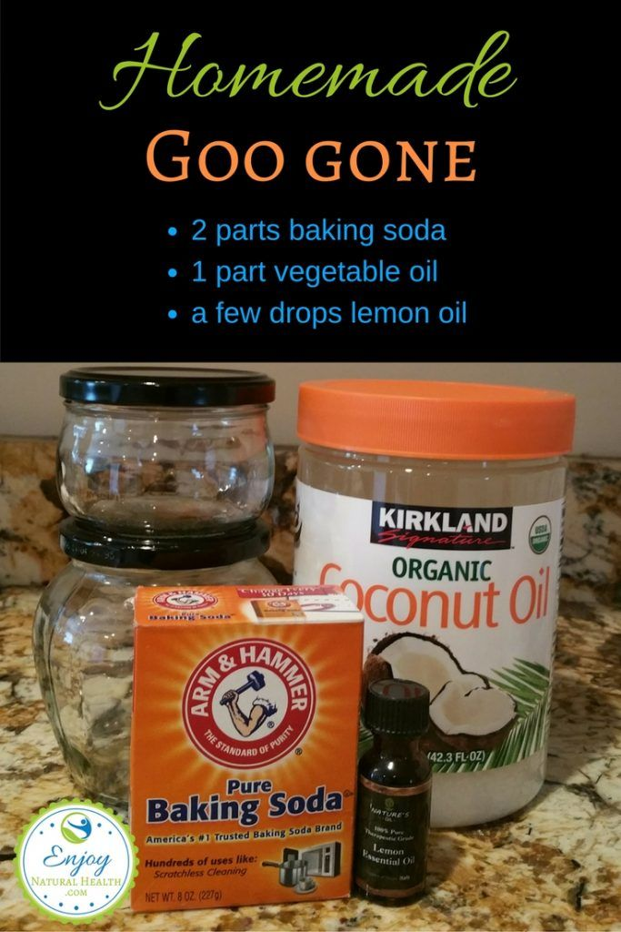 Homemade Goo Gone - this simple mixture of baking soda and coconut oil will clean up goo stuff from evertying, jsut as well as the store bought kind, for a lot less money, and without the danger of chemicals!