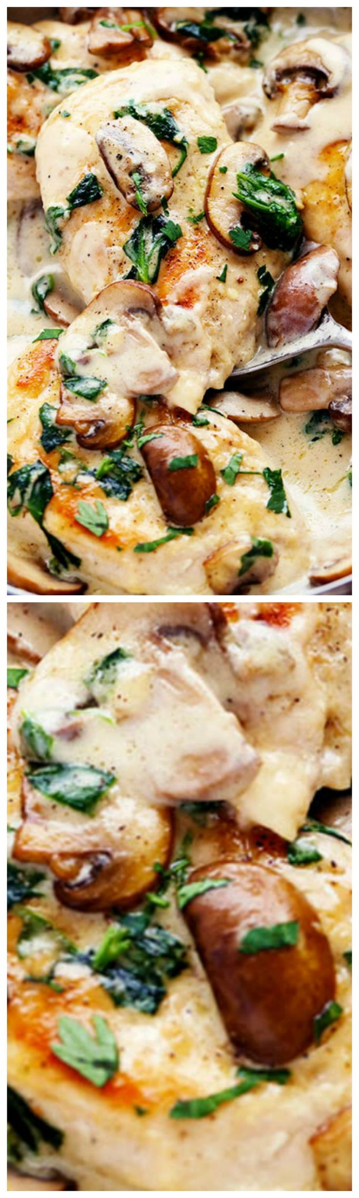Creamy Parmesan Garlic Mushroom Chicken ~ It is ready in just 30 minutes and the parmesan garlic sauce will wow the entire family!