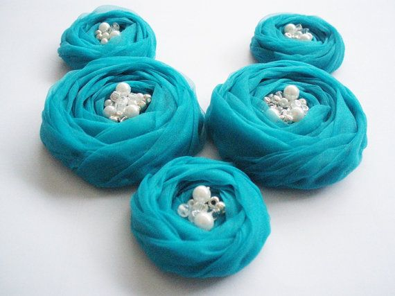 Teal Roses Handmade Appliques Embellishment 5 pcs by BizimSupplies