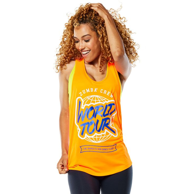 WORLD TOUR LOOSE TANK - ORANGE YOU HOT ------------------ Rep your favourite rhythms in the World Tour Loose Tank! This fan favourite features ultra soft and lightweight fabric that will keep you dancing on and on and on. Zumba Tank.