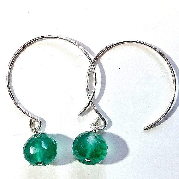 Sterling silver natural green onyx earrings. women's by Emmalishop