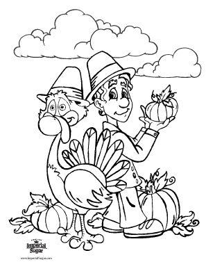 Pilgrim & Turkey Coloring Page #thanksgiving