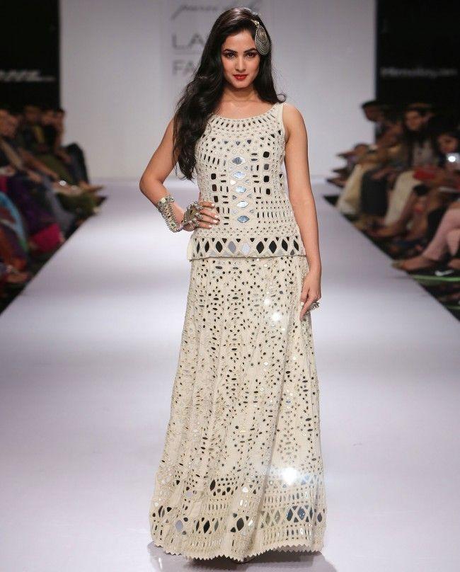 Pearl White Lengha Set with Mirror Work - Purvi Doshi - Designers