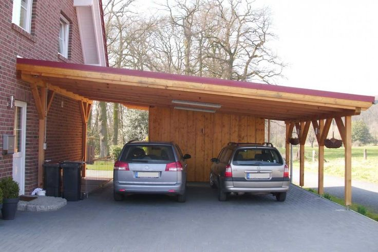 Ideas Laminated Wood Carport Are Two Cars In Gray. Carport Roof Is Red And Has Two Lights Are Attached To The Roof. There Are Two Black Trash. There Carport Next To A White Door. On The Right There Are Two Hanging Plants Amazing Laminated Wood Carport