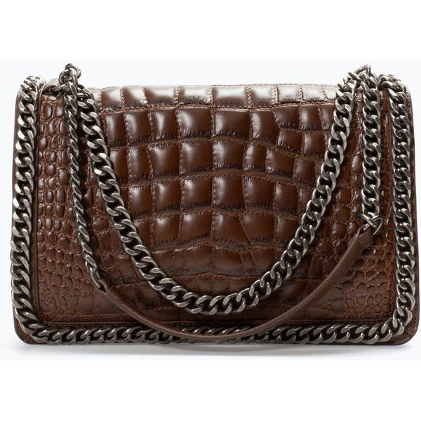 Zara Croc City Bag With Chain (610 BRL) ❤ liked on Polyvore featuring bags, handbags, brown, purses, dark brown, zara handbags, chain handbags, city bag, man bag and croc purse