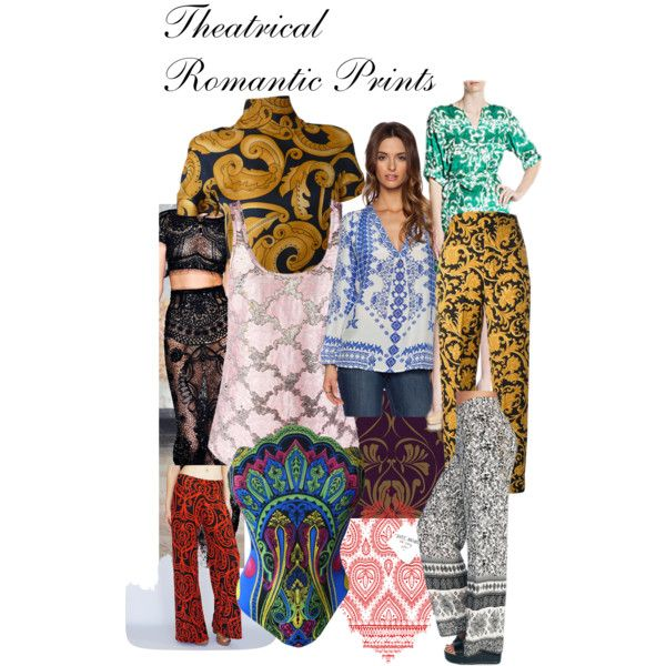 Theatrical Romantic Prints by ithinklikeme on Polyvore featuring polyvore, fashion, style, Prada, Collective Concepts, Versace, Rococo, Wet Seal, York Wallcoverings, DENY Designs, Emilio Pucci, kibbe, theatricalromantic and kibbetheatricalromantic