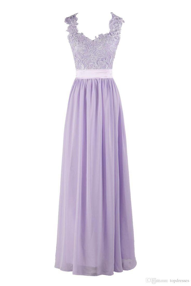 Vestidos de dama de honor púrpuras vendedores calientes de la lavanda de la lila de la dama de honor de la gasa del cordón de los vestidos de partido de boda de la playa del honor más los vestidos de noche del TAMAÑO
