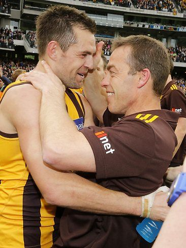 Hodge and Clarko | Hawks win the ultimate prize | Herald Sun | Luke Hodge and Alistair Clarkson enjoy the moment. Picture: Wayne Ludbey