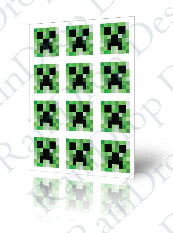 DIY Printable Minecraft Creeper Stickers Square 2 quot For