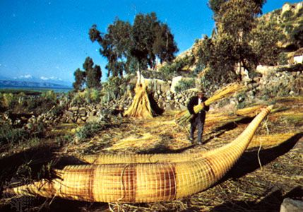 The Aymara people wove boats out of reeds.