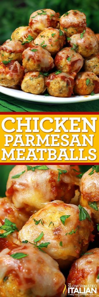 Your favorite chicken Parmesan transformed into these popable chicken Parmesan meatballs. This recipes is ready in just 30 minutes.
