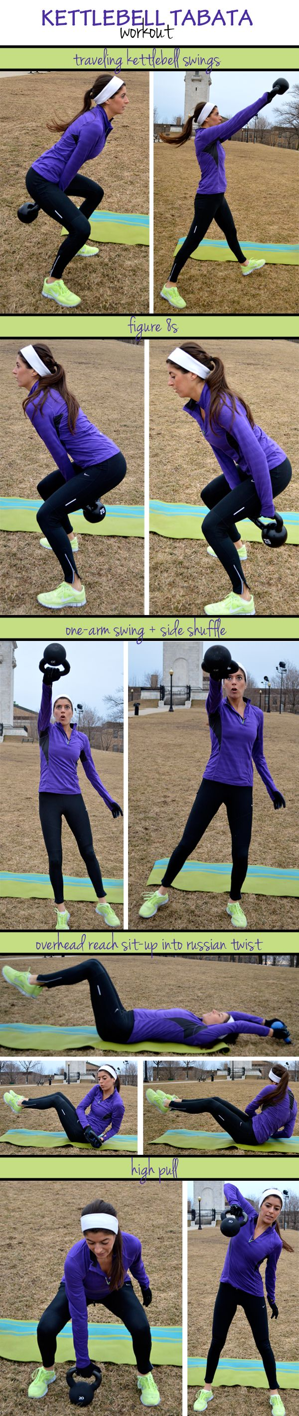 Kettlebell Tabata Workout  For each exercise, set an interval timer for 8 rounds of 20 seconds of work and 10 seconds of rest. When the four minutes is up, move on to the next exercise.
