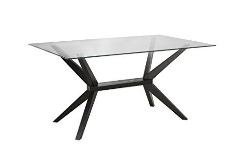 63b24d82d961 Midcentury Modern Uptown Club Vanora Collection Modern Tempered Glass Top  Long Dining Table, 63