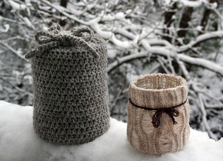 Nøsteblogg: Adventstipset :: Strikket lanterne + heklet trekk til tennbrikettboksen