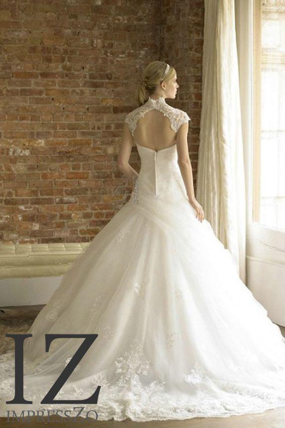 Prinsessen bruidsjurk ritssluiting neklijn ImpressZo Bruidsmode IZ215