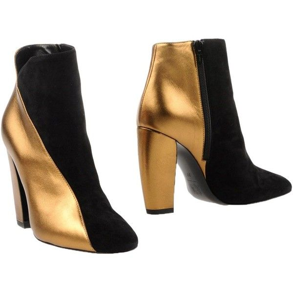 Pierre Hardy Ankle Boots (1.405 BRL) ❤ liked on Polyvore featuring shoes, boots, ankle booties, gold, round toe boots, round toe ankle boots, ankle boots, ankle bootie boots and zipper boots