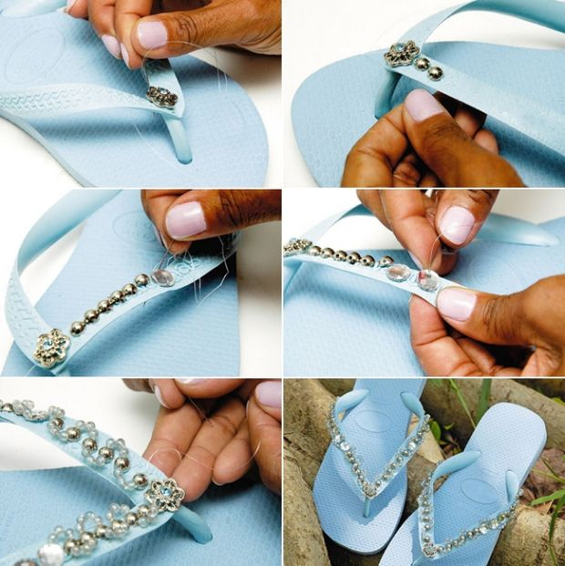 light blue rubber flip flops decorating with silver beads rhinestones