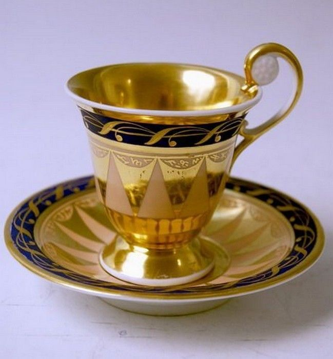 KPM Berlin Porcelain (Germany) — Tea Cup and Saucer, c.1815 (649x700)★༺❤༻★
