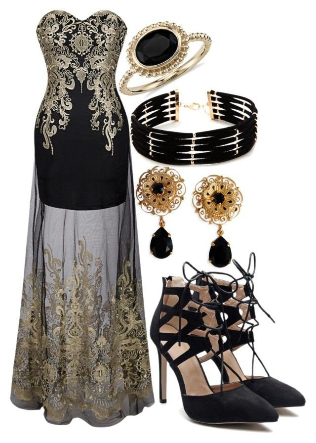 """""""Black and Gold"""" by elli-jane-xox ❤ liked on Polyvore featuring Dolce&Gabbana, Forever 21 and Blue Nile"""