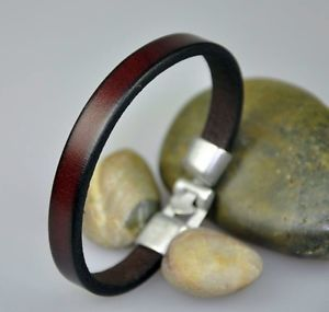 Simply Cool Single Band Real Leather Bracelet Wristband MEN'S Cuff Coffee Brown   eBay