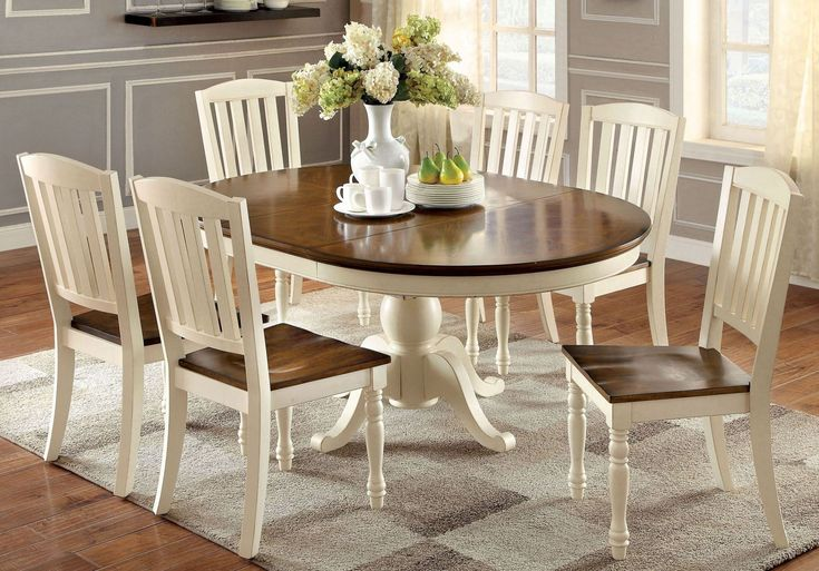 Harrisburg Vintage White and Dark Oak Oval Extendable Dining Room Set