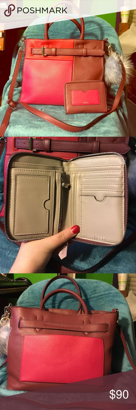 Red reed purse & free matching wallet 👛 Reed purse I purchased from Kohl's. There's a small spot at the bottom of the interior of the purse (shown in pics) other than that it is in nice condition and has hardly been used. (Comes with the puff keychain!!) Reed Krakoff Bags Shoulder Bags