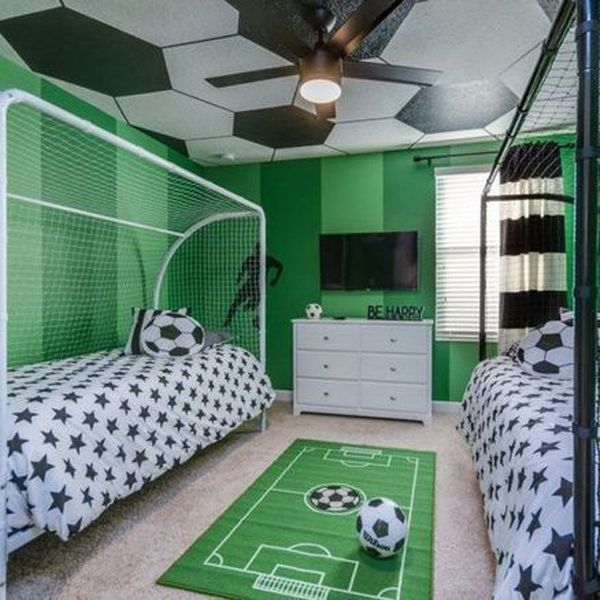 35 Coolest Soccer Themed Bedroom Ideas For Boys House Design And Decor Soccer Themed Bedroom Bedroom Themes Soccer Bedroom