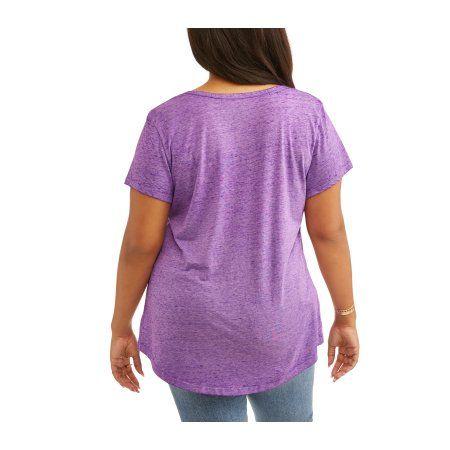 Plus Size Rocker Girl Juniors' Plus Burnout Scoop Neck Halloween Tee, Size: 3XL, Purple