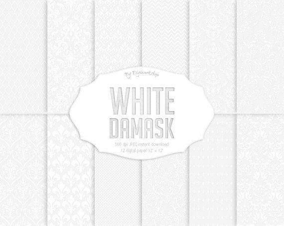 """#White #damask digital paper: """"White Damask""""  12 white damask digital paper set """"White Damask"""" digital paper with white damask backgrounds, classical light patterns in white ... #etsy #digiworkshop #scrapbooking #illustration #creative #clipart #printables #cardmaking #white"""