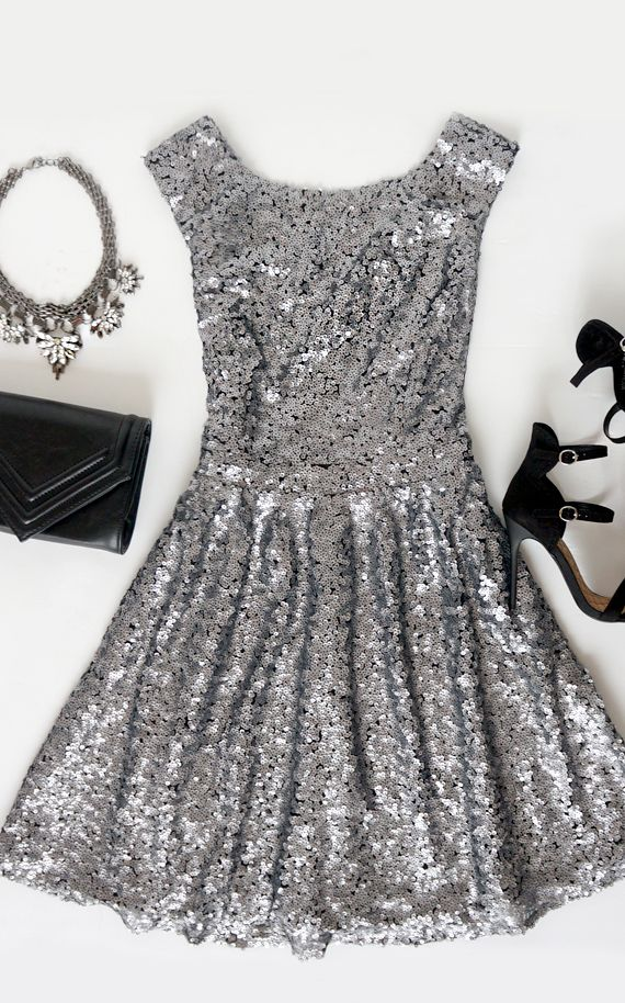 Midnight Mood Grey Sequin Dress