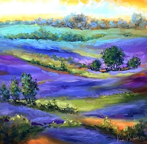 Blueberry Fields Forever and Using a Lavish Brush - Floral Paintings by Nancy Medina, painting by artist Nancy Medina