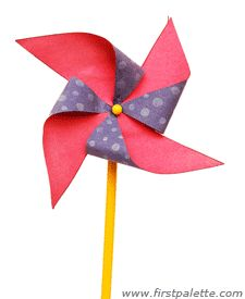 DIY Pinwheel: The paper pinwheel is a classic summer craft. If you haven't tried making it yet, you'll find our tutorial and templates quite useful. http://www.firstpalette.com/Craft_themes/Nature/pinwheel/pinwheel.html