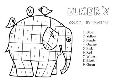 Elmer Color by Number. Enlarge and use as a mixing colour lesson-giving
