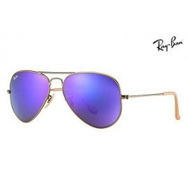 a1adc65dd0 Ray Ban RB3025 Aviator Flash Lenses sunglasses Bronze-Copper Frame   Violet  Mirror Lens