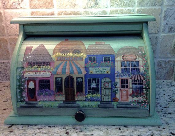 Vintage roll top Breadbox hand painted green by RamblingPaintbrush