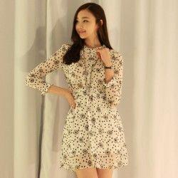 Luxe Asian Women Design Korean Model Fashion Style Marnier Ivory Dress