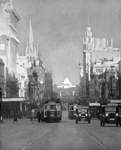 View of the Shrine from Swanston St, Melbourne, 1930s